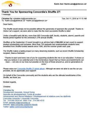 Lettre de remerciement Concordia Shuffle