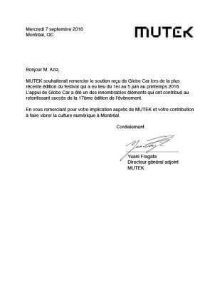 Lettre de remerciement Mutek
